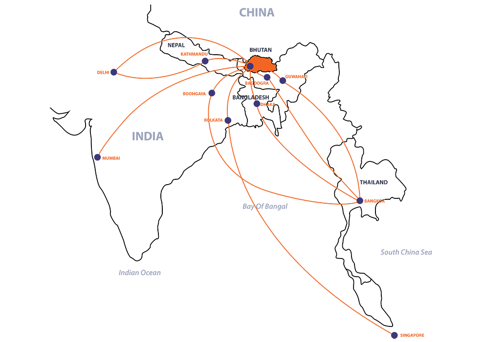 Airline Connecting Bhutan